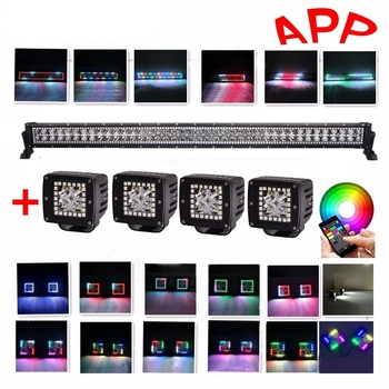 """Car 42"""" 240W RGB Light Bar LED Remote Controller/ Bluetooth App Music Function With 4pc 3x3 Pods Work Lights for SUV 4x4 12V"""
