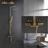 Luxury thermostatic gold waterfall shower constant gold brush shower mixer luxury bathroom brush shower mixer frosted shower