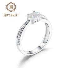 GEMS בלט אלגנטי חתונה טבעת טבעי סגלגל אתיופיה אופל חן כסף 925 אבן המזל טבעת לתכשיטי נשים