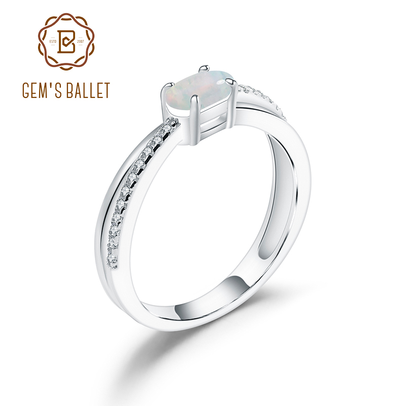 GEM'S BALLET Elegant Wedding Ring Natural Oval Ethiopia Opal Gemstone 925 Sterling Silver Birthstone Ring For Women Fine Jewelry