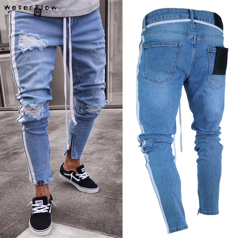Slim Jeans For Men Distressed Stretch Jeans Ice Blue Ripped Skinny Jeans Slim Fit Dropshipping New Tape Design
