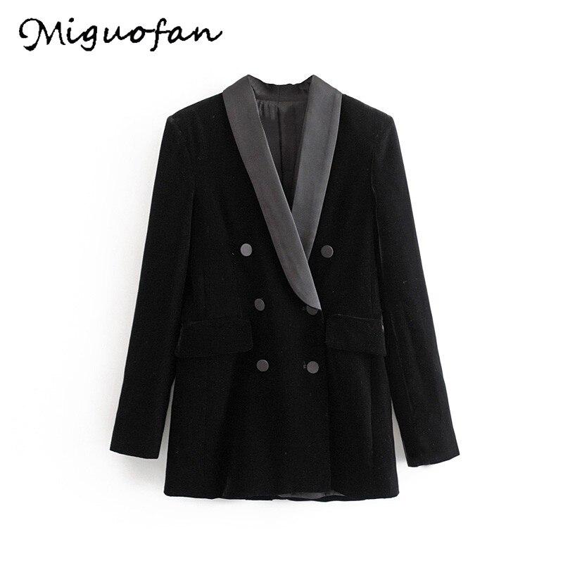 Miguofan Blazer Black Women jackets coats Long Sleeves Double Breasted Button veste office lady Blazer Outerwear Coat suit mujer