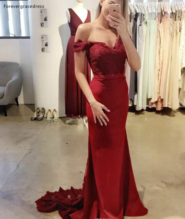 2019 Champagne   Bridesmaid     Dress   Mermaid Off The Shoulder Long Country Garden Formal Party Guest Maid of Honor Gown Plus Size
