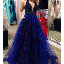 Sparkly Royal Blue Prom Dresses 2020 with Beading Pockets A-