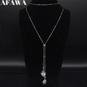 2020 acier inoxydable coeur colliers pour femmes argent couleur perles longs colliers pendentifs bijoux collier largo mujer N202345