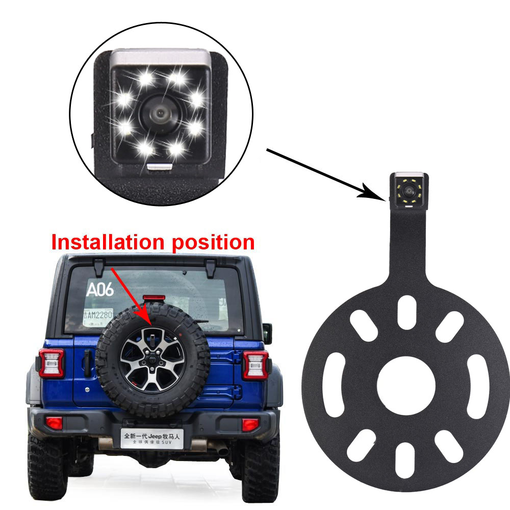 HD Night Vision With 8LED Car Backup Reverse Rear View Camera Spare Tire Mount Reversing Parking For Jeep Wrangler 2007-2018