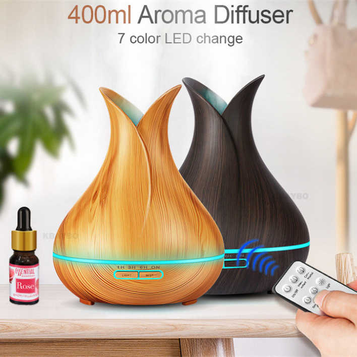 400ml Ultrasonic Electric Air Humidifier Aroma Oil Diffuser ไม้ Grain รีโมทคอนโทรล 7 สีไฟ LED cool mist maker