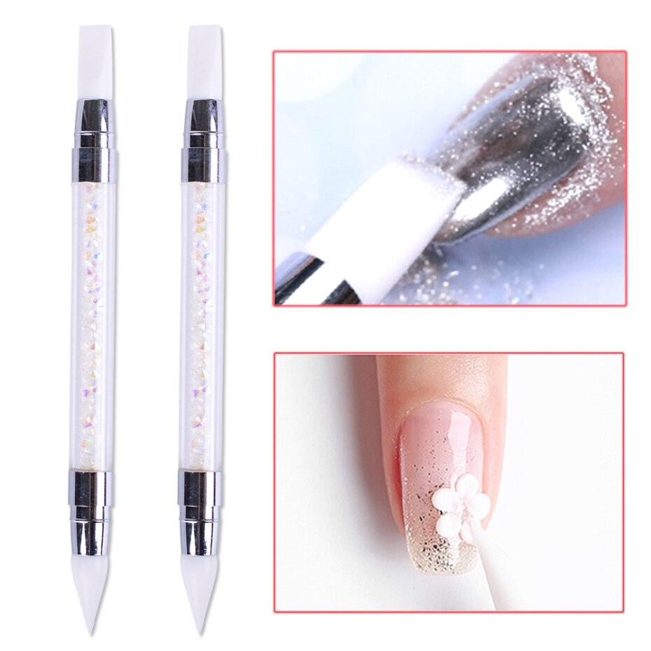 1 шт., ручка для резьбы по ногтям, двухсторонняя Силиконовая ручка для скульптуры 3D, инструмент для маникюра УФ-геля NFD003