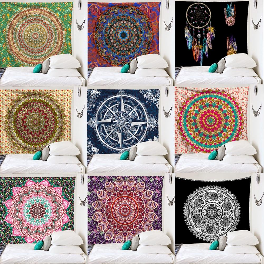 Travel Yoga Mattress Mandala Tapestry Indian Bohemian Mandala Tapestry Wall Hanging Sandy Beach Throw Rug Blanket Camping Tent