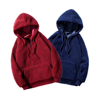 BOLUBAO Quality Brand Men Lamb Wool Hoodies Winter New Men's Fashion Solid Color Hoodies Sweatshirts Male Big Pocket Hoodie Tops image