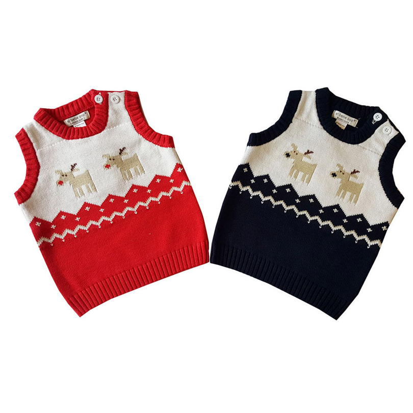 Christmas Toddler Knitted Sweaters Vest Baby Boys Girls Cartoon Deer Pattern Winter Soft Warm Sleeveless Tops Clothes 0-24M A20