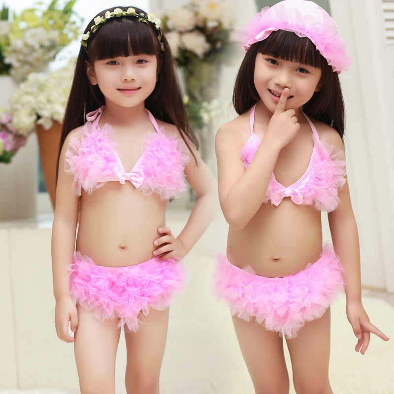 KID'S Swimwear Manufacturers Closeout High Quality Nylon Fabric Plain Color Cute Children Baby Split Type Bikini Bathing Suit