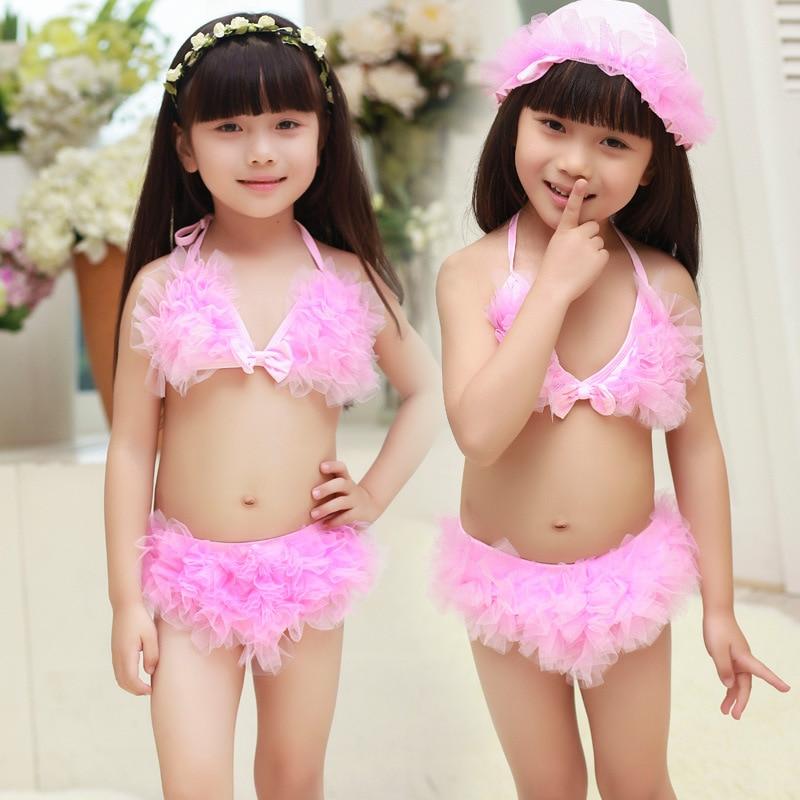 KID'S Swimwear Manufacturers Closeout High Quality Nylon Fabric Plain Color Cute Children Baby Split Type Bikini Bathing Suit