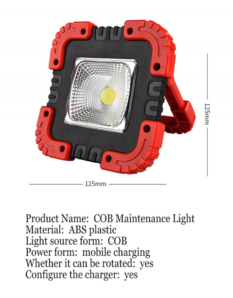 1200mAh COB Work Lamp LED Portable Lantern Waterproof Emergency Portable Spotlight USB Rechargeable Floodlight For Camping Light