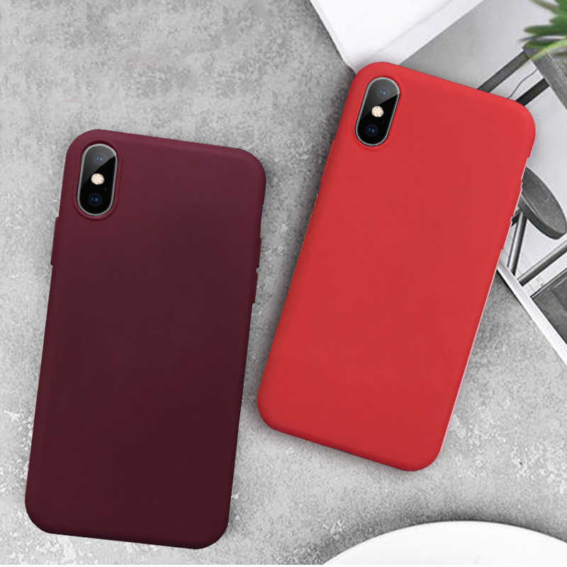 Warna Solid untuk iPhone X XR X Max TPU Silikon Lembut Case untuk iPhone 11 Pro Max 11 pro 10 Slim Cover Fundas Shell