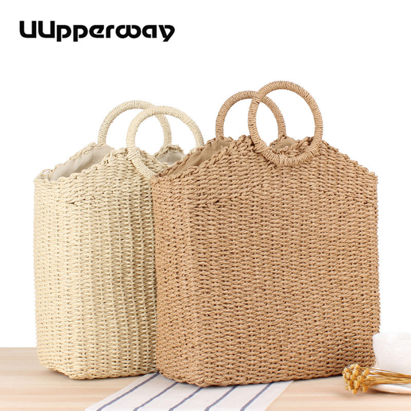 2019 Women's Handbag Straw Summer Beach Woven Designer Handbags Circle Handle Tote Bag Basket Shopping Party Boho Purses