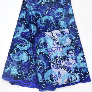 Image 5 - מכירה לוהטת פאייטים נטו תחרה בד 2019 אפריקאית באיכות גבוהה רשת חתונה הכלה שמלת תפירת נצנצים רקום חומר DG847