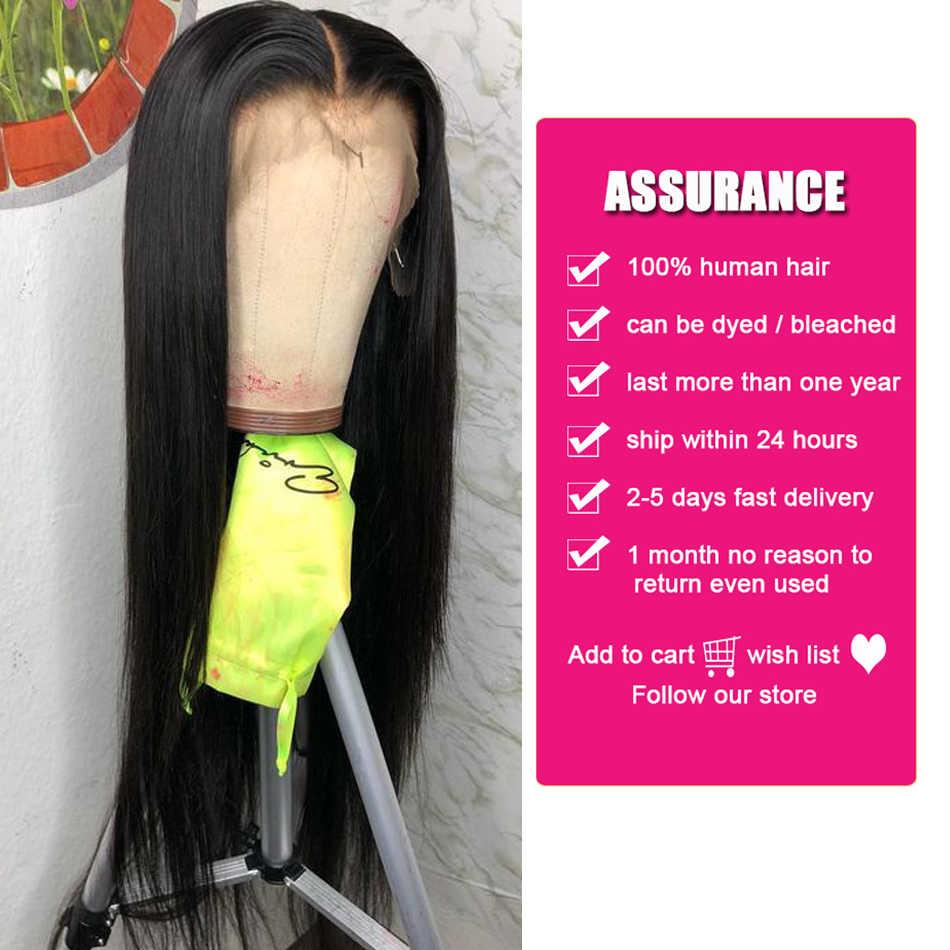 Pelucas de cabello humano frontal de encaje recto peruano Tuneful 8-26 pulgadas 150% pelucas de encaje humano Remy Pre desplumado cabello de la parte libre