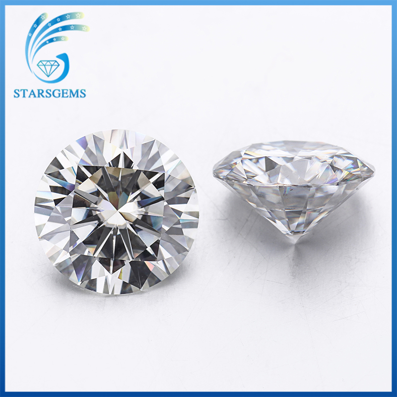 STARSGEM GH 8mm Round Brilliant Cut Excellent Moissante 2ct Loose Moissanite Gemstone for Jewelry