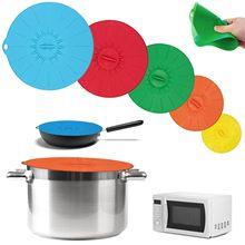 Tapa De Olla para el microondas, utensilio De cocina De silicona, juego De envoltura De comida, accesorios, tapón De sartén, 5 uds.