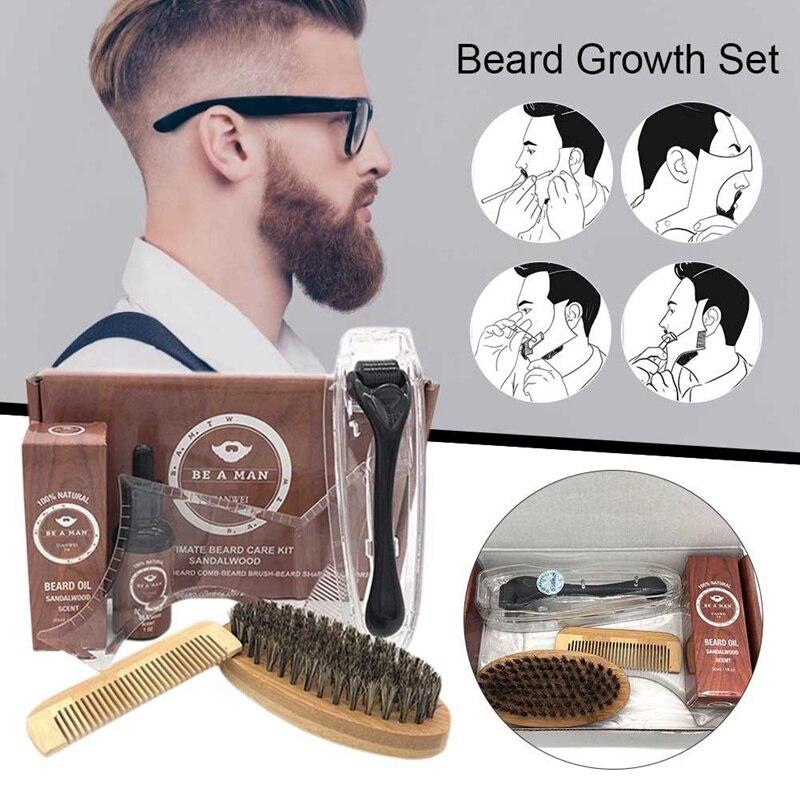 Beard Grooming Trimming Kit Beard Growth Roller Care Tools Men Styling Beard Conditioner Oil Beard Roller