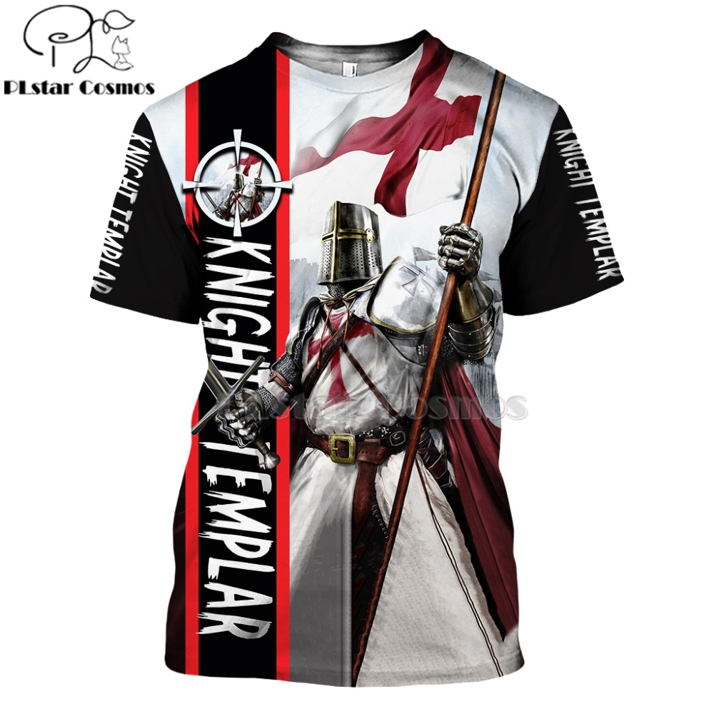 PLstar Cosmos All Over Printed Knights Templar 3d T Shirts Tshirt Tees Winter Autumn Funny Harajuku Short Sleeve Streetwear-9