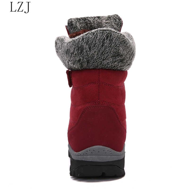 LZJ 2019 ใหม่รองเท้าบู๊ทคุณภาพสูงหนัง Suede ฤดูหนาวรองเท้าผู้หญิงรองเท้าอุ่นรองเท้าบู๊ตหิมะกันน้ำ Botas Mujer