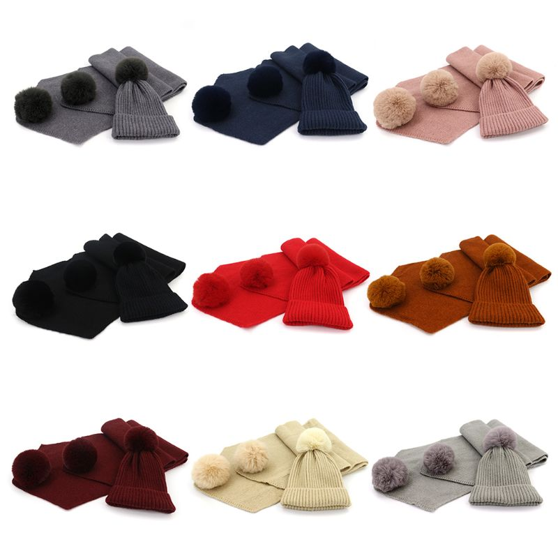 2Pcs/Set Adult Children Winter Knit Faux Wool Hat Long Scarf Set Fluffy Pompom Solid Color Cuffed Beanie Cap Neck Warmer