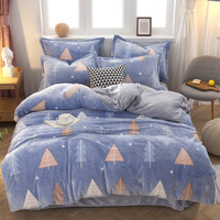 Snowflake cashmere bedding set winter coral fleece duvet cover set flannel flat sheet AB side thicken warm linen Chirstmas home
