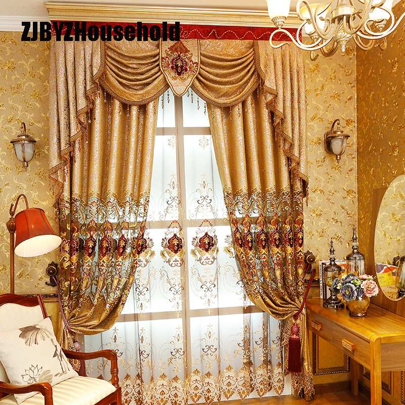European style hollow water-soluble embroidery cloth embroidered gauze window golden bedroom curtains