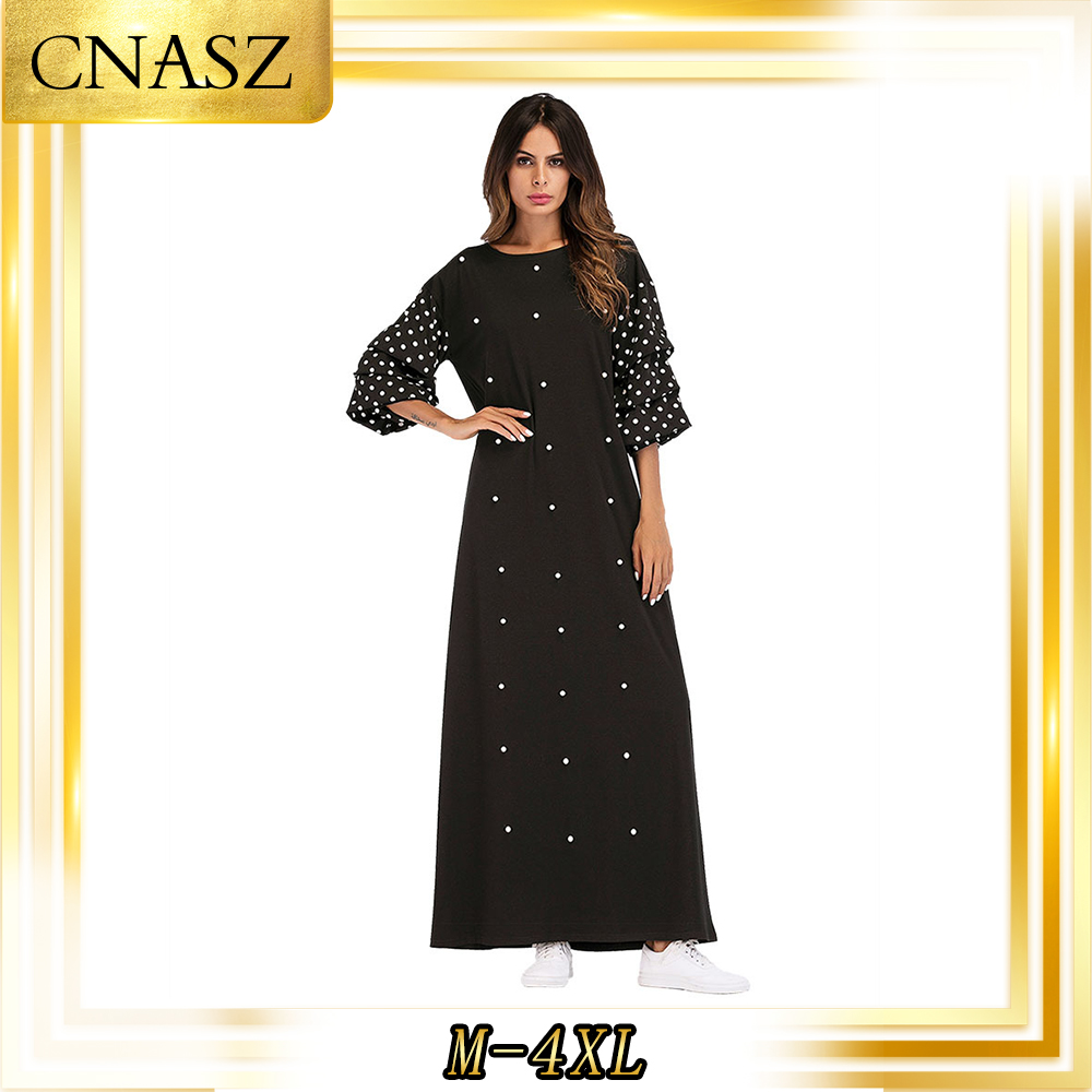 Muslim Dresses Large Size Moroccan Kaftan Gown Women's Polka Dot Knit Round Neck Beaded Musulman Femme Dress