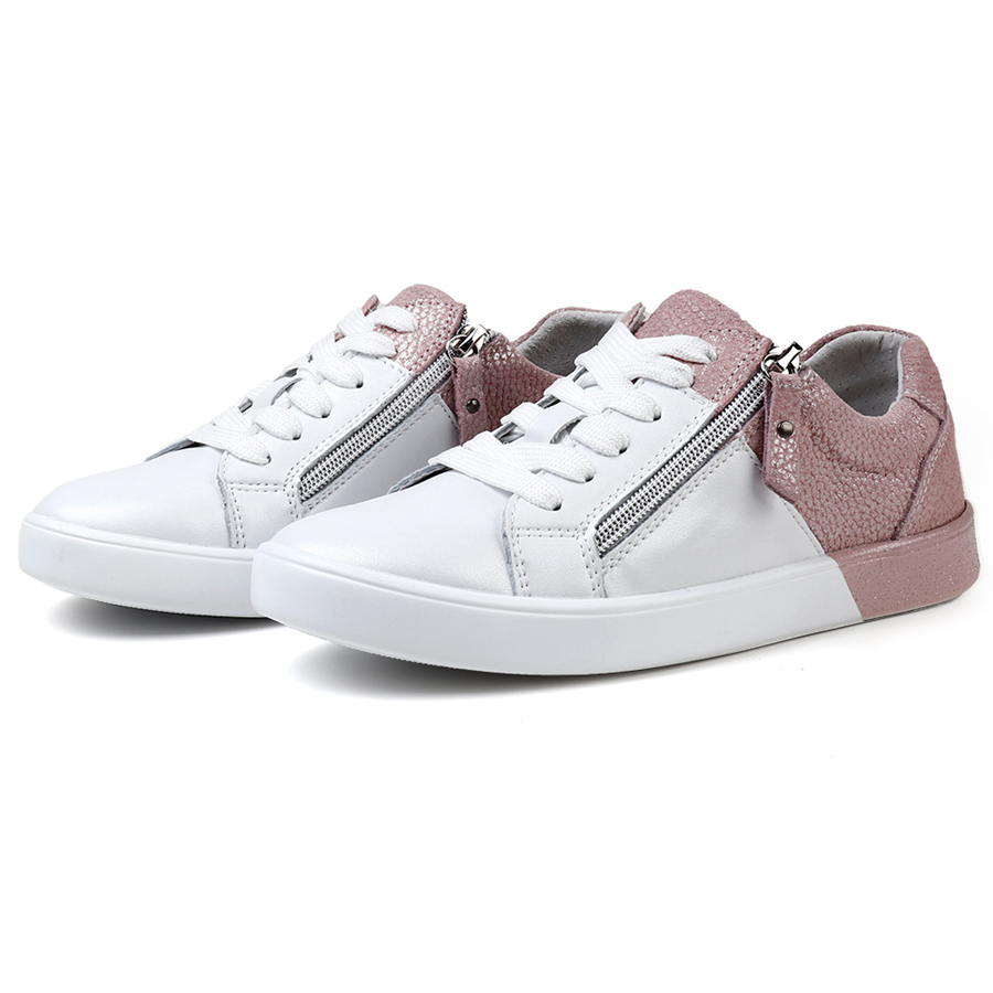 H63f3796bd5204e89b80861194f0cef315 - STQ New arrival women flat shoes zip genuine leather shoes woman spring autumn mixed color fashion sneakers female FY16010