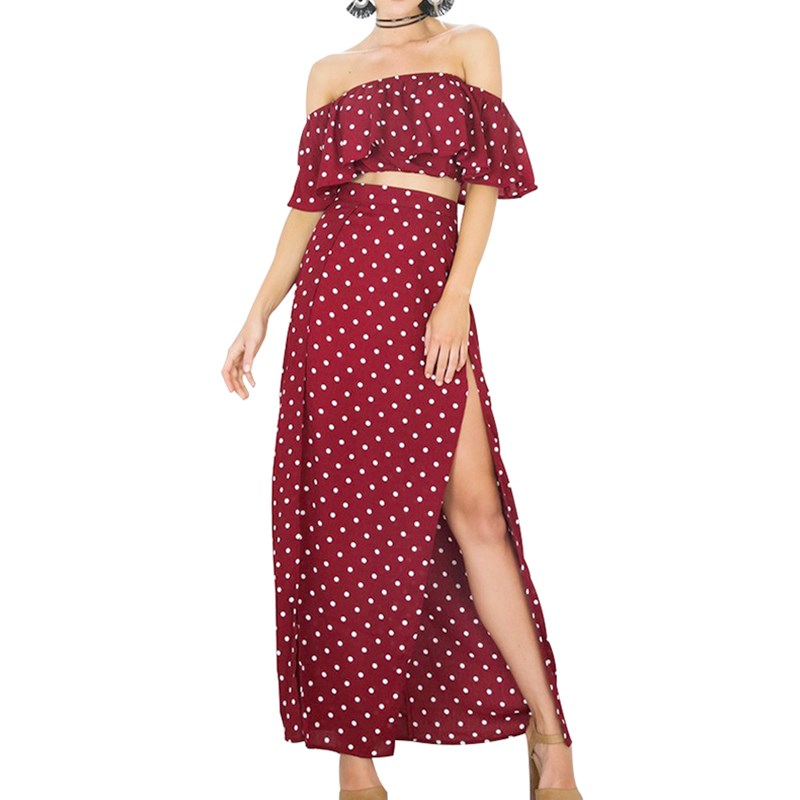 Sexy Red Off Shoulder Bohemian Suit Summer Nice Women Short Sleeve Ruffle Casual Set Vintage Polka Dot Chiffon Set