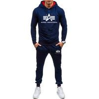 Autumn winter Hot Sale Men's Sets Hoodie+pants 2 Pieces Sets Casual Tracksuit Male Sportswear Gyms Fitness Sweatpants M XXL