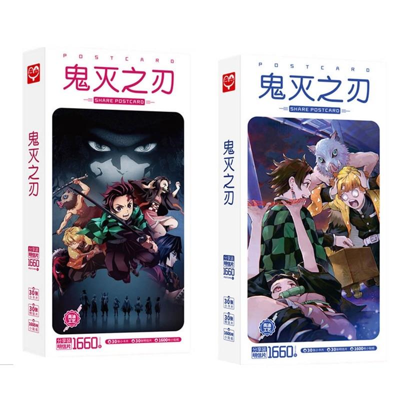 Cute Anime Demon Slayer: Kimetsu No Yaiba Kamado Tanjirou Nezuko Postcard Post Cards Sticker Artbook Gift Cosplay Props Book Set
