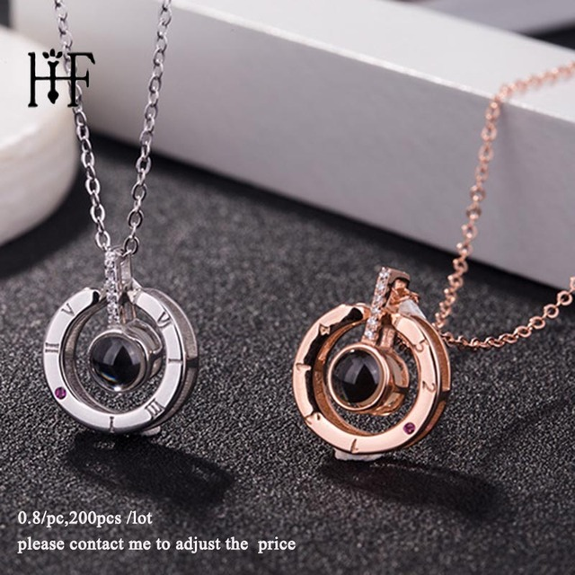 Wholesale 200Pcs/Lot Rose Gold 100 languages I love you Projection Pendant Necklace Love Memory Wedding Necklace Jewelry