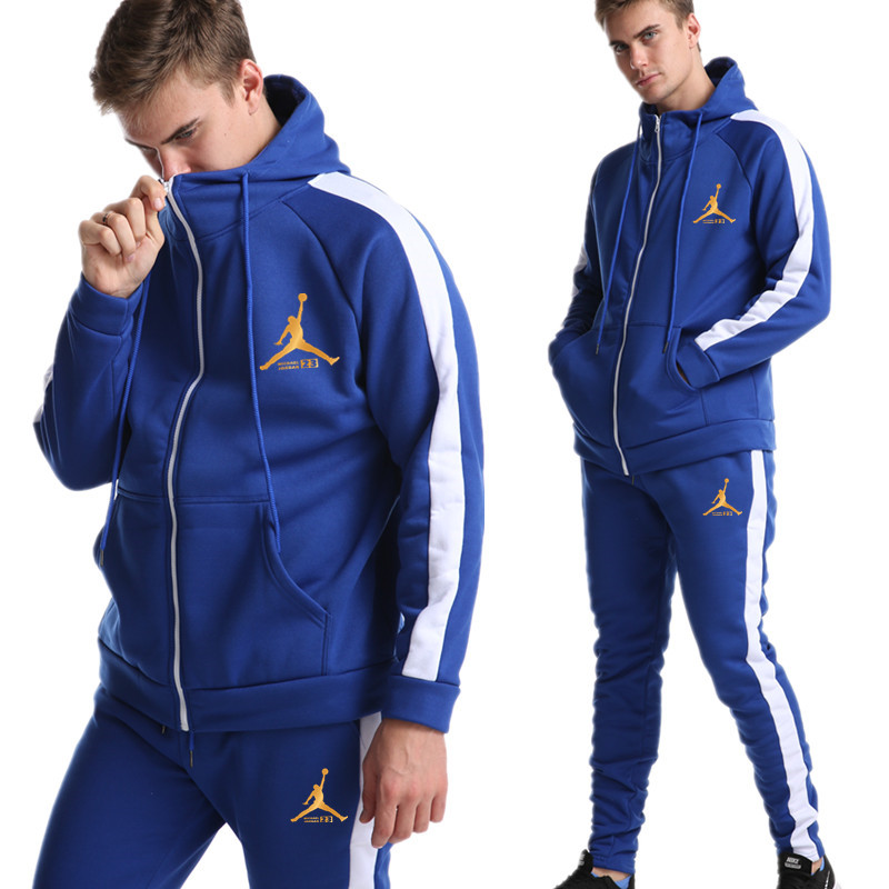 2019 Fashion Printing Men's Sportswear Autumn And Winter Thickening Suit Hooded Sweater Sports Shirt Gym Sports Suit