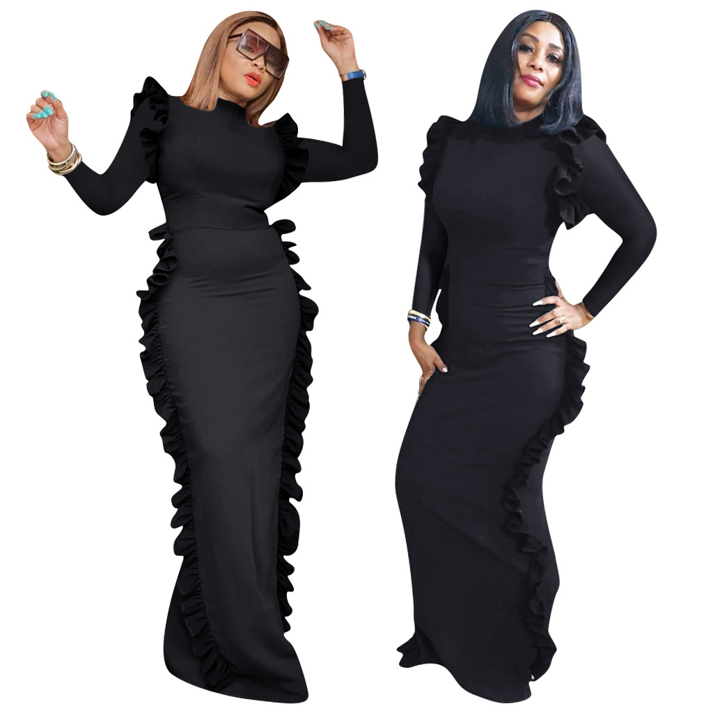 2019 New Arrival Autumn Sexy Fashion Style African Women O-neck Plus Size Long Dress