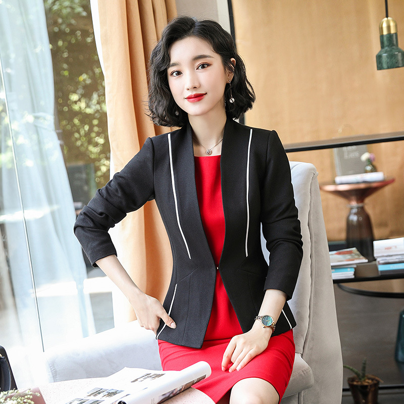 Black Red female elegant woman's office blazer dress jacket suit ladies office wear sets costumes business dresses 2piece set