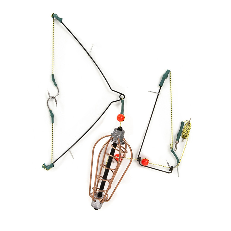Fishing Bait Cage Fish Bait Lure Copper Trap Basket Feeder Holder With Hooks Fishing Tackle Accessories