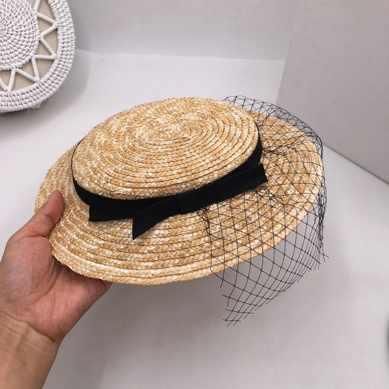 Socialite hats fashion ladies straw hat white gauze elegant headdress sun hats for women
