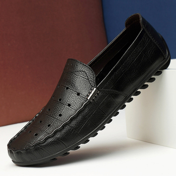Ifrich 2020 Young Casual Loafers Shoes Hollow Breathable Drive Shoes Men Anti-Slip Loafers Moccasins Men Genuine Leather Loafers фото