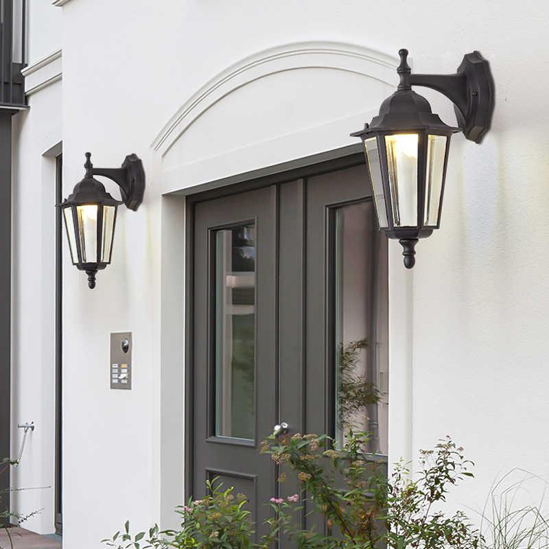 في الهواء الطلق مصباح للحائط مقاوم للماء فيلا الشمعدان أضواء الإضاءة الألومنيوم زجاج قاتم مصابيح للمنزل المدخل الحائط التيار المتناوب