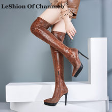 Fetish Vrouwen Chic Stretch Snake-effect Glossy Glanzend Materiaal Stiletto Hakken Platformed Slanke Been Dij Hoge Laarzen Zip Schoenen lady(China)