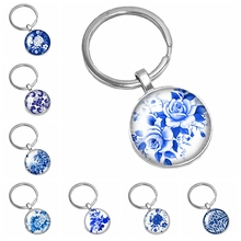 HOT! 2019 New Handmade Chinese Style White Porcelain Petal Flower Series Glass Cabochon Fashion Keychain Jewelry Gift
