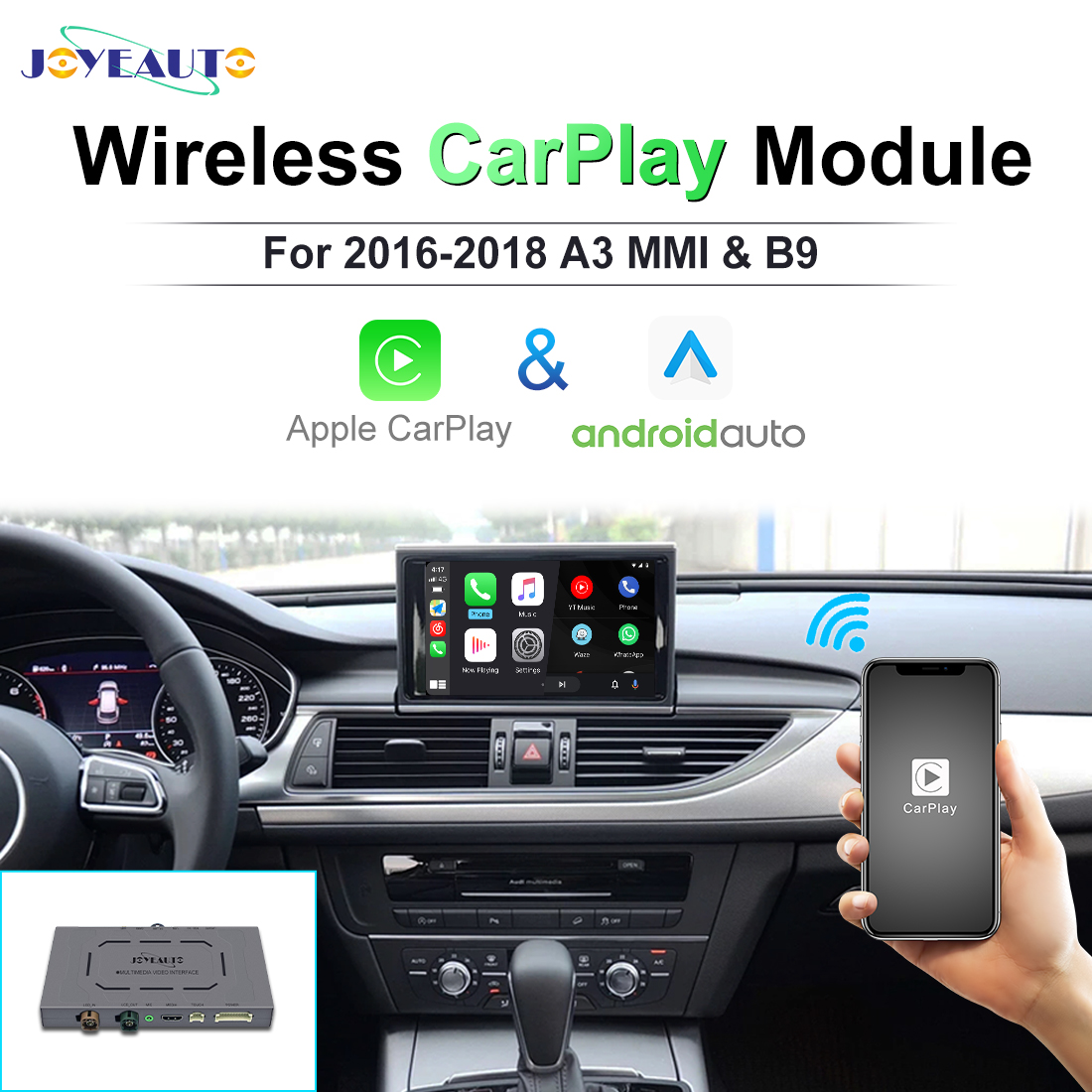 JoyeAuto Wireless Apple Carplay For Audi A3 MMI2010 2012 2013 2014 2015 A4 A5 Q7 Q2 2016 2017 2018 Android Auto Car play Adapter