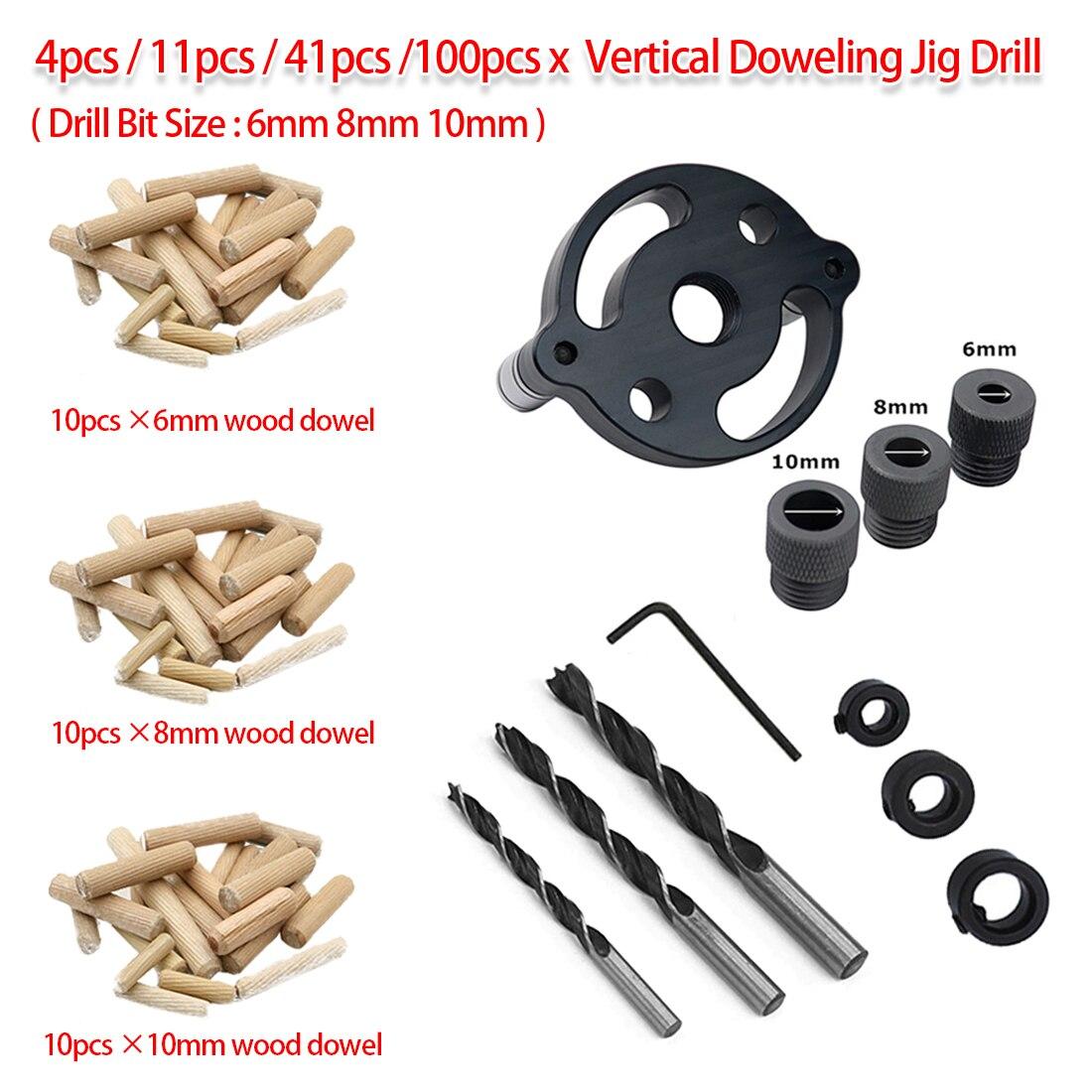 6mm 8mm 10mm Wood Dowelling 4pcs/11pcs/41pcs/100pcs Pocket Hole Jig Self Centering Drill Guide Kit Hole Puncher Locator Tool
