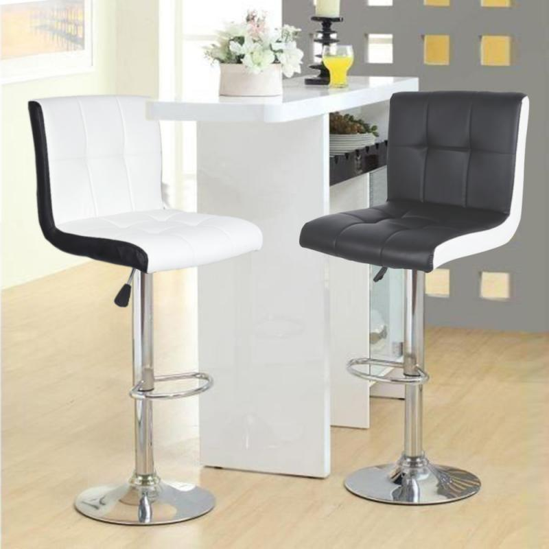 2pcs/Set Leisure Synthetic Leather Swivel Bar Stools Chairs Height Adjustable Pneumatic Pub Chair White Swivel Bar Chair Home