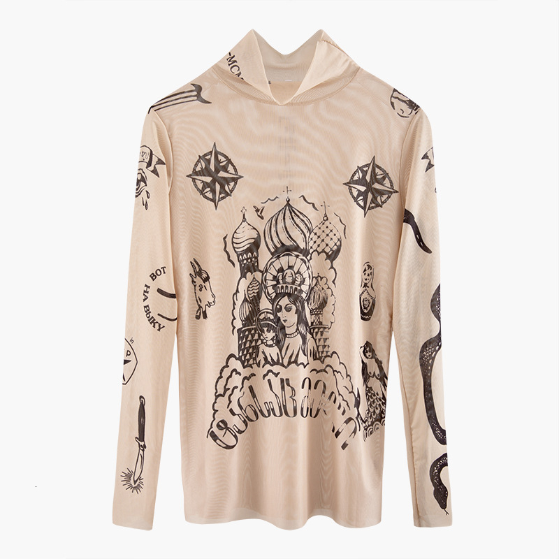 2019 Autumn New Fashion Women Basal Top Goddess Tatoo Print Long Sleeve High Tight Collar Nude Color Mesh Yarn SEXY T-shirt B666