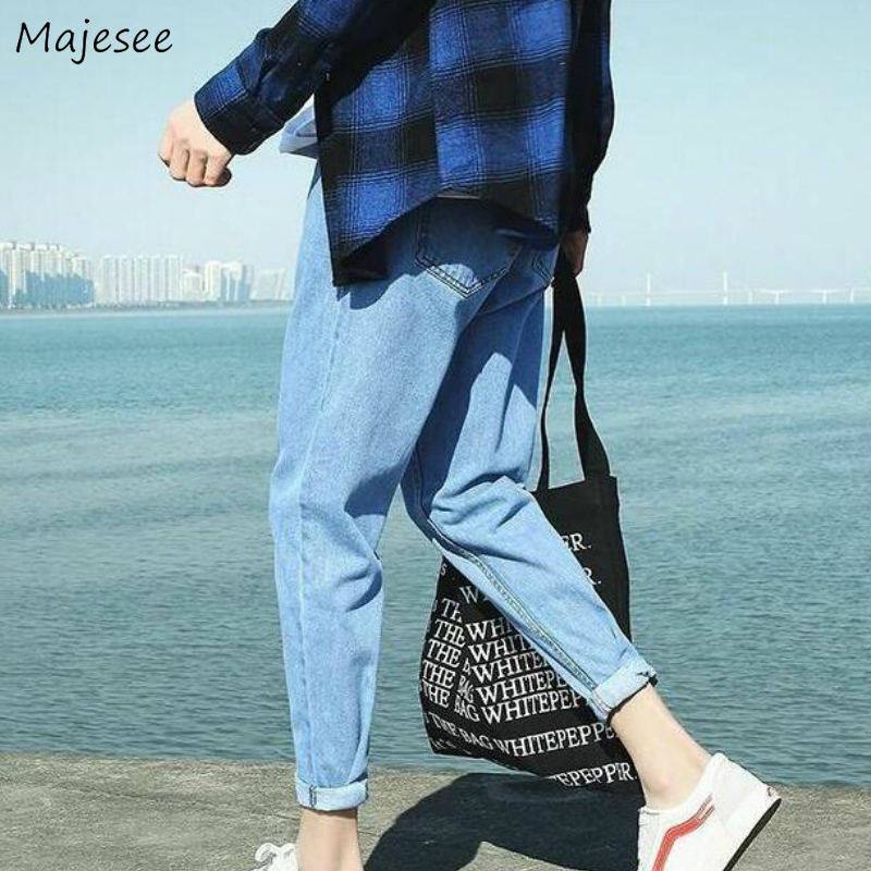 Men Jeans Solid Simple Straight Denim Trousers Chic All-match Mens Korean Style Students Leisure Harajuku Loose New Trendy Ins